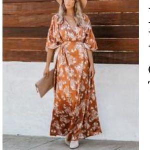 Rusty colored kimono dress from Vici
